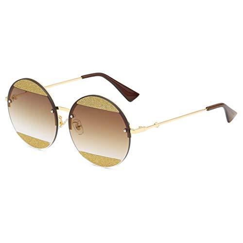 GUOTAIEUP Sonnenbrillen Hochwertige Mode Elegante Persönlichkeit Strand Outdoor Party New Glitter Glänzende Runde Sonnenbrille Frauen Klar Marke Coole Randlose Sonnenbrille Weibliche Vintage Party Rei