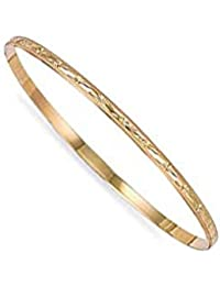 Jewelco London Ladies Solid 9ct Yellow Gold Diamond Cut D-Shape Slave 3mm Bangle Bracelet