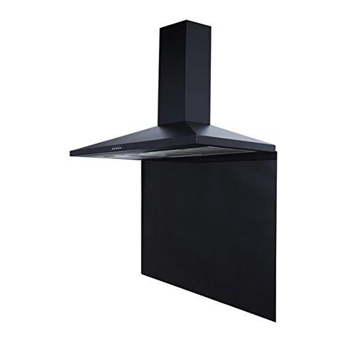 SIA CH101BL 100cm Black Cooker Hood Extractor & 100cm Black Glass Splashback
