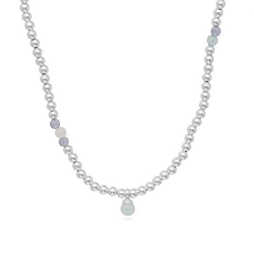 Sence Copenhagen Sehr Lange Halskette Damen Silber - Kette JOURNEY WORN SILVER mit Frischwasser-Perle und Perlen Weiß Blau Aquamarin Jade Rosenquarz versilber - P581