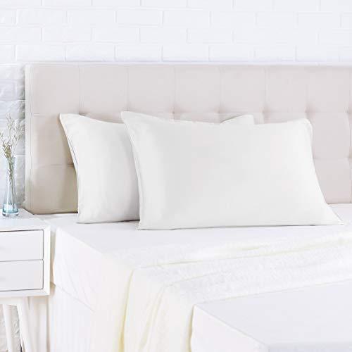 AmazonBasics - Funda de almohada de satén - 40 x 80 cm x 2, Blanco