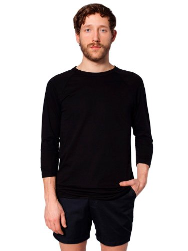 American Apparel Poly-Cotton 3/4 Sleeve Raglan Shirt - Black / L (3/4 Sleeve Shirt Schwarz)