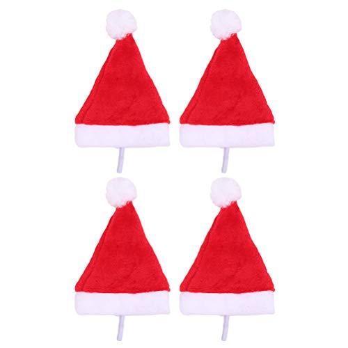 POPETPOP Pet Christmas Hat Dog Weihnachtsmann Kostüm Cap für Weihnachten Festival 4pcs (rot)