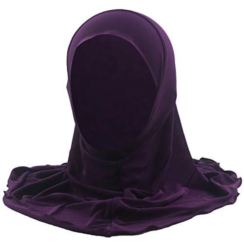 HHyyq Das Einfache Hijab Der Moslemischen Kinder Kein Dekorationbabyhut Neugeborener Weicher Baumwollturbankindhaarband-Babystirnband(Lila)