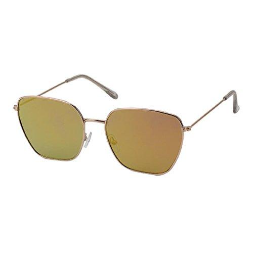 Sonnenbrille Piloten Retro Stil 400 UV verspiegelt Trapezform eckige Gläser gelb