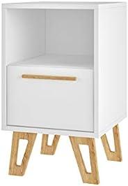 BRV MÓVEIS MDP/Wood Feet/Center Table, Side Table, Nightstand, BM 91-159, White/Oak Feet, H56 x D35 x W33 cm,