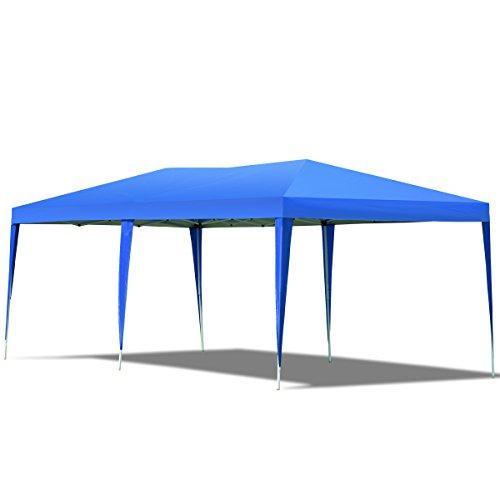 GOPLUS Pavillon Gartenpavillon Partyzelt Festzelt Bierzelt Gartenzelt Faltpavillon Partypavillon, aus Oxford-Tuch, faltbar, Farbewahl, 3 x 6 m (Blau)