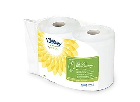 KLEENEX Essuie-Mains Slimroll 2 Rouleaux de 1000 Formats Blanc 100 m
