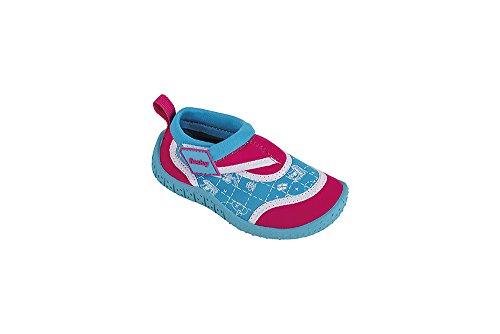 fashy® Kleinkinder Outdoor Sport- und Schwimmschuhe Aquaschuhe aus Neopren und Mesh mit Klettverschluss und TPR-Sohle Rosa/Türkis 21