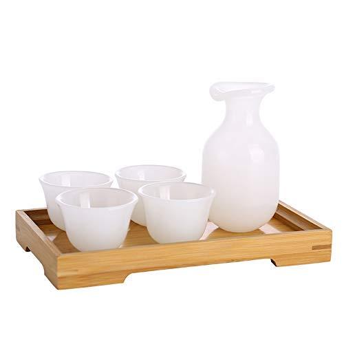 Unbekannt Sake Set von 6 mit Holzschale, Jade, Porzellan, traditionellem Retro Handwerk, gelb, Kombinations Sets