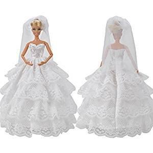 Barbie Sindy Puppen 3 Teile Traditionelles Hochzeits Kleid No:2 Verschiedene Schichten Schleier &...