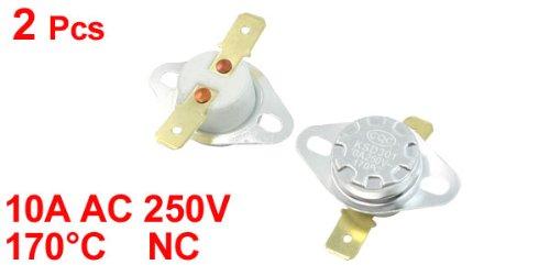 2 Pcs NC 2 Pin 170C Temperature Control Ceramic Thermostat Swtich 10A AC250V