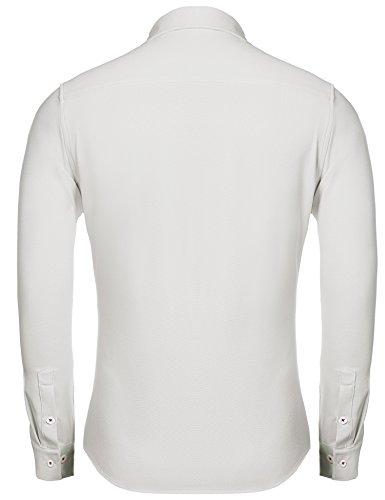 Coofandy Herren Hemd Basic Regular Fit Bügelleicht Freizeit Kontrastfarben mit atmungsaktiv hemd Langarmhemd Weiß