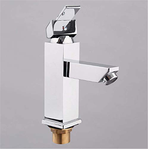 Square Brass Polished Bathroom Faucet, Cold and Hot Water Mixer Tap