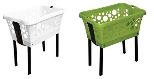 2 x Wäschekorb aus Kunststoff mit ausklappbaren Beinen in Weiß und Grün, Stabil und stapelbar