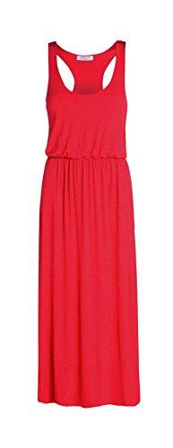 Janisramone Frauen Blätterteig Kugel Toga Maxi Weste Kleid Rot