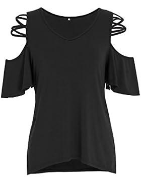 ZKOO Camiseta Hombros Descubiertos Blusas De Verano V Cuello Camisas Casual Color Sólido Tops Manga Corta Sin...