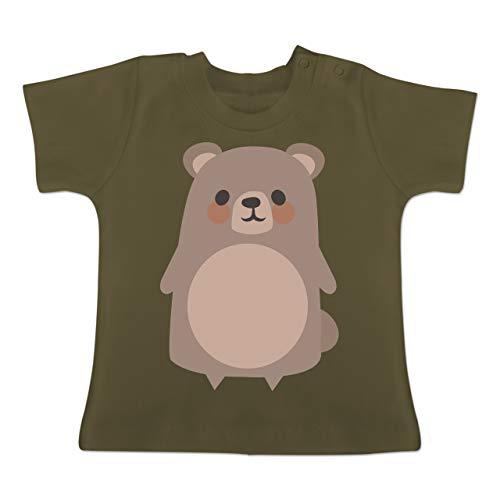 Karneval und Fasching Baby - Teddy Fasching Kostüm - 1-3 Monate - Olivgrün - BZ02 - Baby T-Shirt Kurzarm (Braunbär Kostüm Kleinkind)