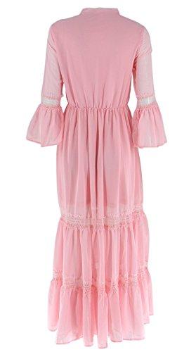 ACVIP Damenkleid Trompete Ärmel mit Krawatte Polyester Lang Sommerkleider Pink