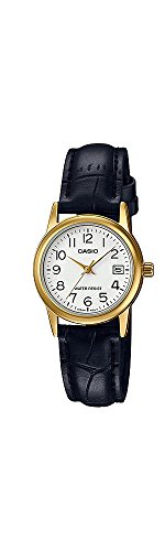 Casio #LTP-V002GL-7B2 Women's Gold Tone Leather Band Easy Reader Dial Date Watch
