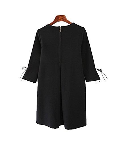 Femmes D¨¦contract¨¦e Trois Quarts Manche Une Lligne Mini Robes Grande Taille Noir