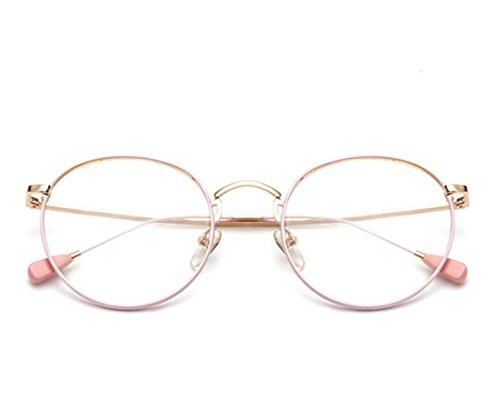 brillengestell Brillenfassungen Brillen Retro Metallrahmen Gläser Anti-Strahlung anti-blau pink