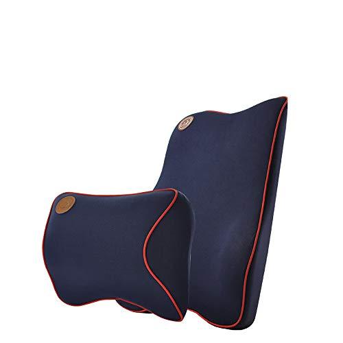 Cuscino di sostegno lombare e cuscino per il riposo del collo | Alleviare e prevenire il dolore superiore e lombare | per la guida di sedie da ufficio e sedie per ufficio,Blue