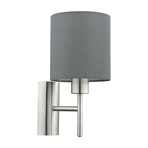 EGLO 94926 A++ to E, Wandleuchte, Stahl, E27, Nickel-matt, 14.5 x 19.5 x 30.5 cm -