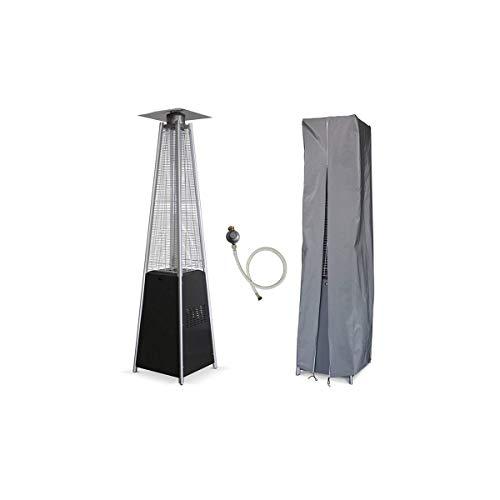 Heizpilz Gas Flamme 13kW Tube Glas Pyramidenform Heizung Außen für Terrasse + Kit Komplett Gas + Tragetasche;