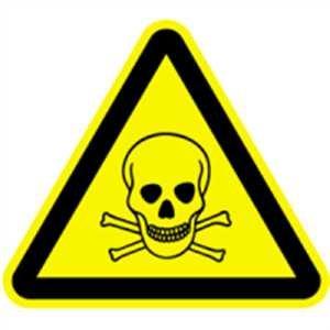 Piktogramm - Warnung vor giftigen Stoffen Folie 2cm sl LE = 12 Piktogramme/Bogen, Preis/Piktogramm gemäß ASR A 1.3/BGV A8/DIN 4844