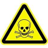 Aufkleber Warnschild Warnung vor giftigen Stoffen 5cm Folie, 6 Stück