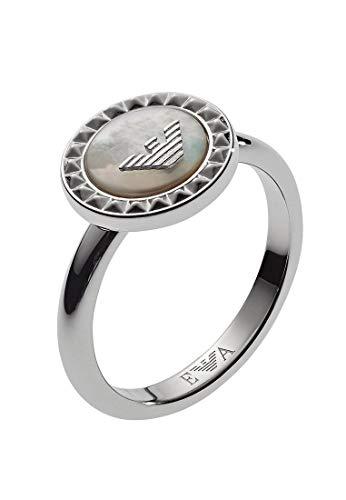 Emporio Armani Damen-Ringe 925 Sterlingsilber mit Rund Perlmutt \'- Ringgröße 53 EG3351040-6.5