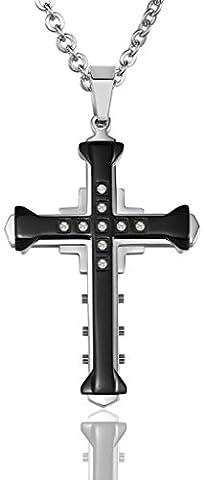 Men CZ Cross Width 4.1CM Height 5.3CM Stainless Steel Pendant