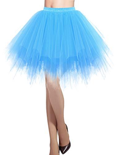 llrock 50er Rockabilly Petticoat Tutu Unterrock Kurz Ballett Tanzkleid Ballkleid Abendkleid Gelegenheit Zubehör Blue M ()