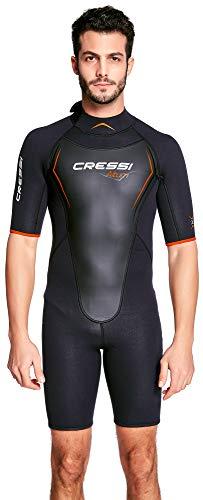 Cressi Herren Altum Wetsuit Shorty Neoprenanzug Premium Neopren 3mm, Schwarz/Orange, L