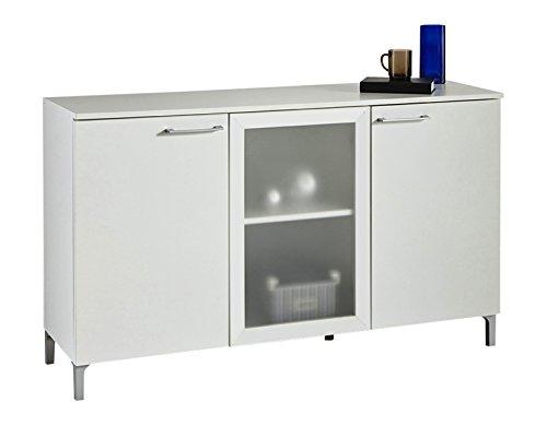 Aparador de 3 puertas con cristal de salón comedor. Blanco perla. 128x76cm