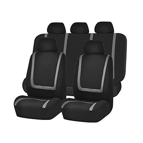 GODGETS Coprisedili Auto Universali Set Completo Copertura Protezione Sedili per Auto in Poliestere Tessuto Anteriore e Posteriore,Nero Grigio,2 * Seater Anteriore + 3 * Seater Posterio