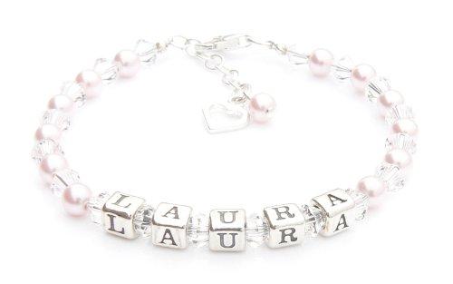 Rose Perle baptême - Bracelet argent Bracelet Prénom - personnalisé Boîte