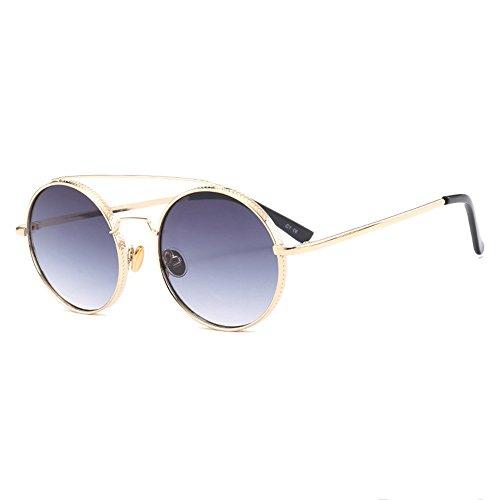 Douerye UV-Resistente Sonnenbrille, Runde Sonnenbrille, Sex-Trendbrille,Chrome