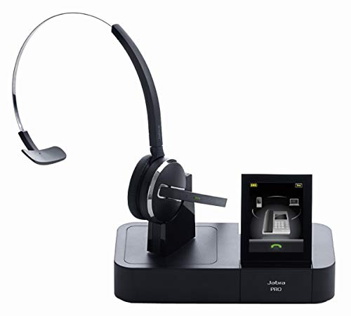 Jabra Pro 9470 Mono professionelles Wireless-DECT-Headset für Festnetztelefon/Handy/PC-Softphone, Touchscreen-Basis mit Bluetooth, abhörsicher -