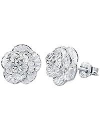 Pendientes - SODIAL(R)Pendientes plateados de plata de flor romantica de joyeria para mujeres