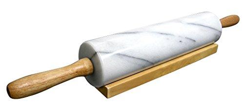 Cook N Home Marmor Nudelholz mit Holz Boden, 45,7cm weiß