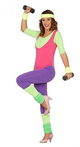 80er Jahre Neon Gymnastik-Anzug für Damen Aerobic Kostüm Trash Bad Taste Sport