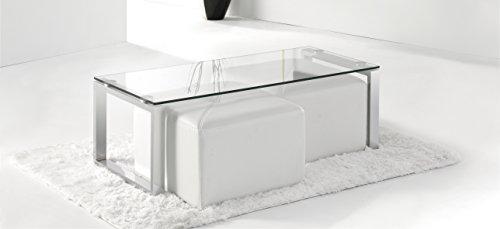 Adec - Mesa de centro benetto cristal, medidas 50 x 110 cm, color acer