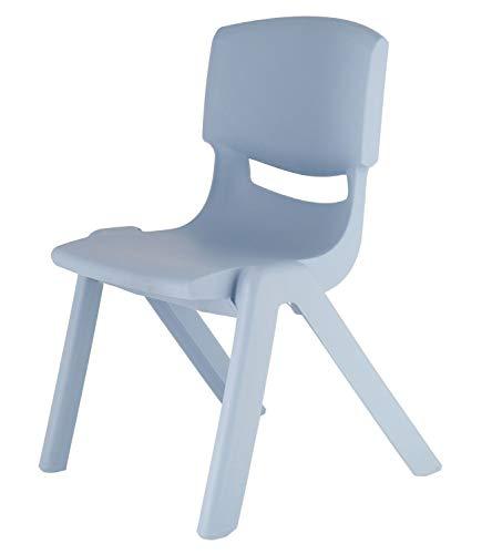 Bieco Kinderstuhl aus Kunststoff Blau mit Rückenlehne, bis 100 kg belastbar, stapelbar, kippsicher, für innen und außen, robust, schadstoffrei, viele Farben, 04201806