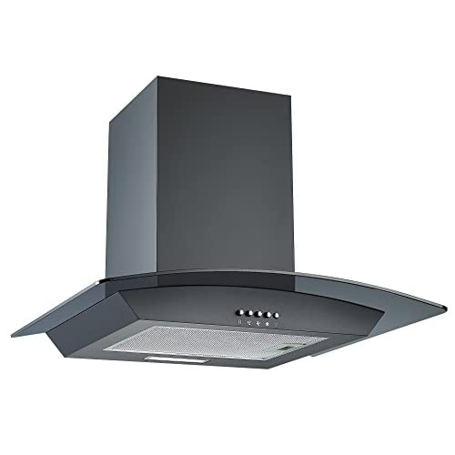 31KDxmszrvL. SS500  - Cookology CGL600BK 60cm Curved Glass Chimney Cooker Hood in Black