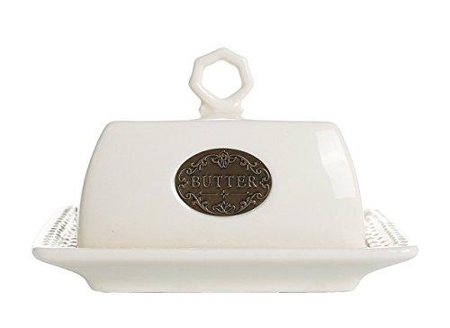 Butterdose aus Porzellan Weiß mit Glocke Butterdish 16x11x9cm