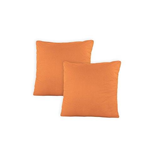 SHC - Kissenbezug 2er-Set für Dekokissen, 100% Baumwolle mit Reißverschluss - 50x50 cm, Nectarine/Mandarine -