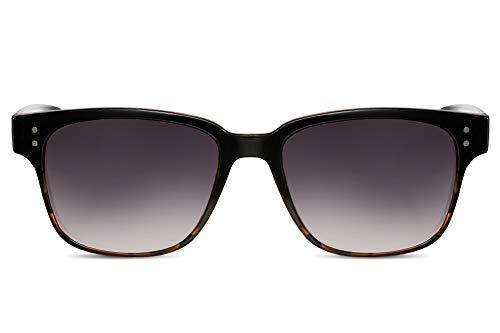 Cheapass Sonnenbrille Schwarz Violett Getönt UV-400 Breit-e Designer-Brille Demi-Effekt Plastik Damen Herren