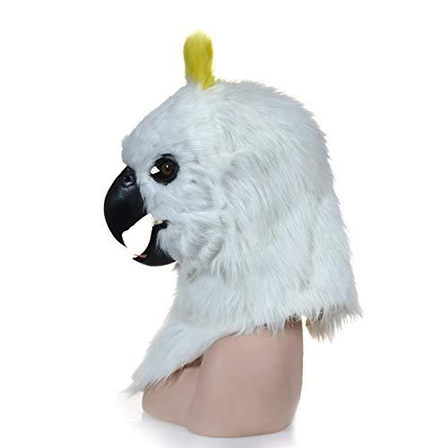 WENQU Hersteller, die Real-Life Custom Custom Rollenspiele Moving Mask Red Parrot Furry Simulation Animal Mask (Color : White, Size : 25 * 25)